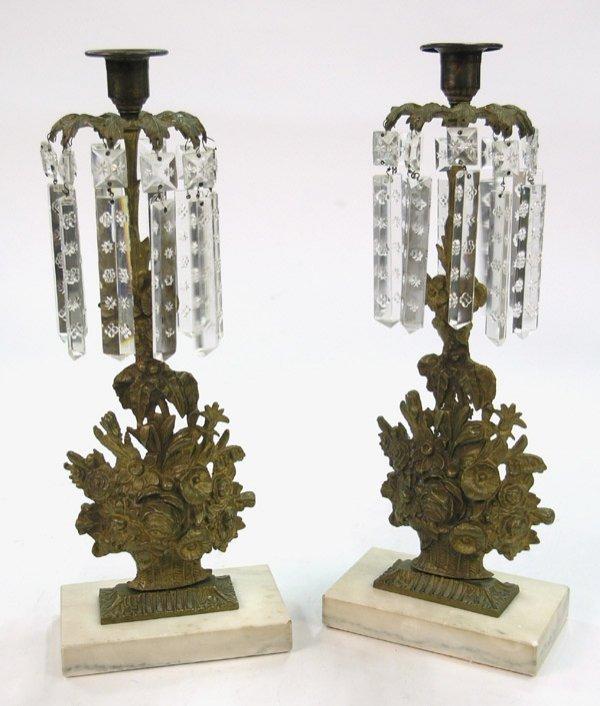 20: Cast brass girandoles cut glass