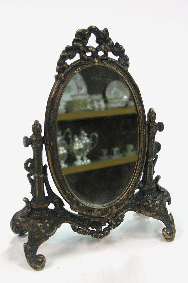 21: Victorian cast brass dresser mirror