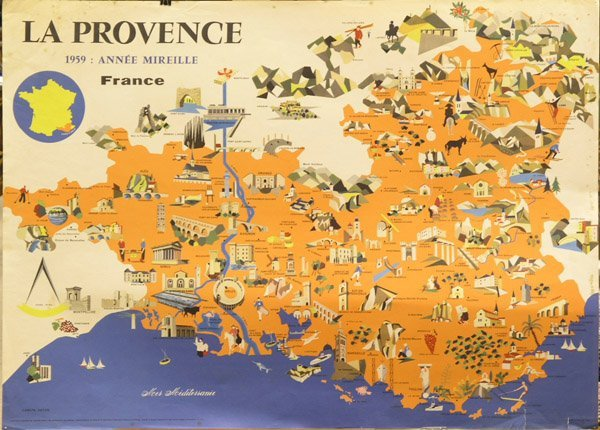 Provence Map Of France.2424 Vintage Poster Provence France Map