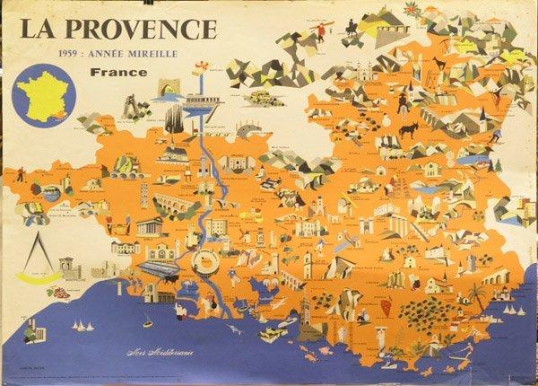 2424: vintage poster Provence France map