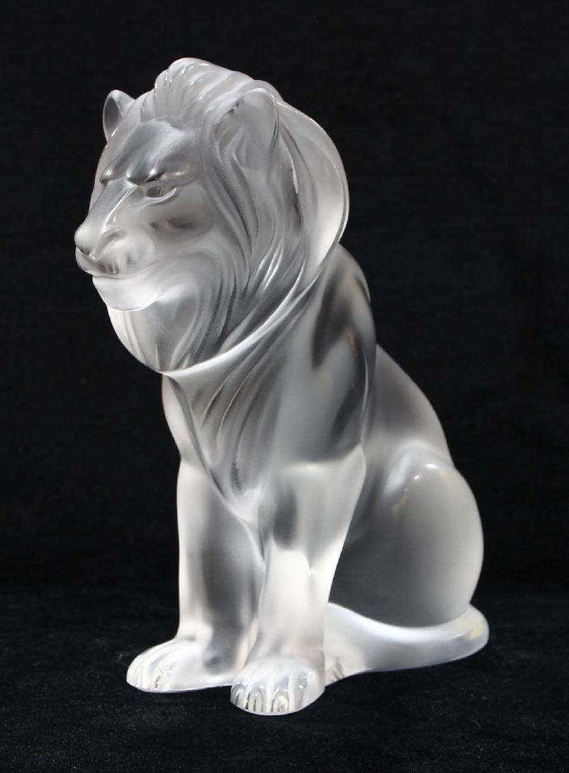 Lalique France ''Bamara'' frosted art glass lion,