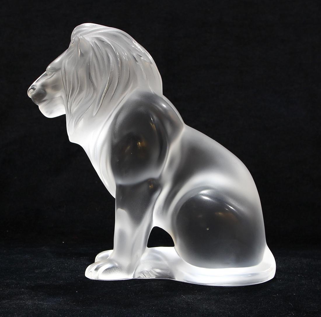 Lalique France ''Bamara'' frosted art glass lion, - 2