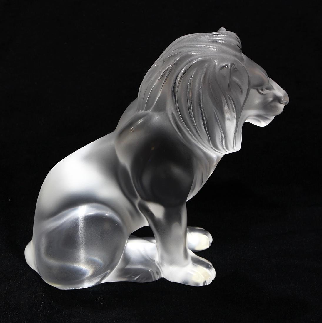 Lalique France ''Bamara'' frosted art glass lion, - 4