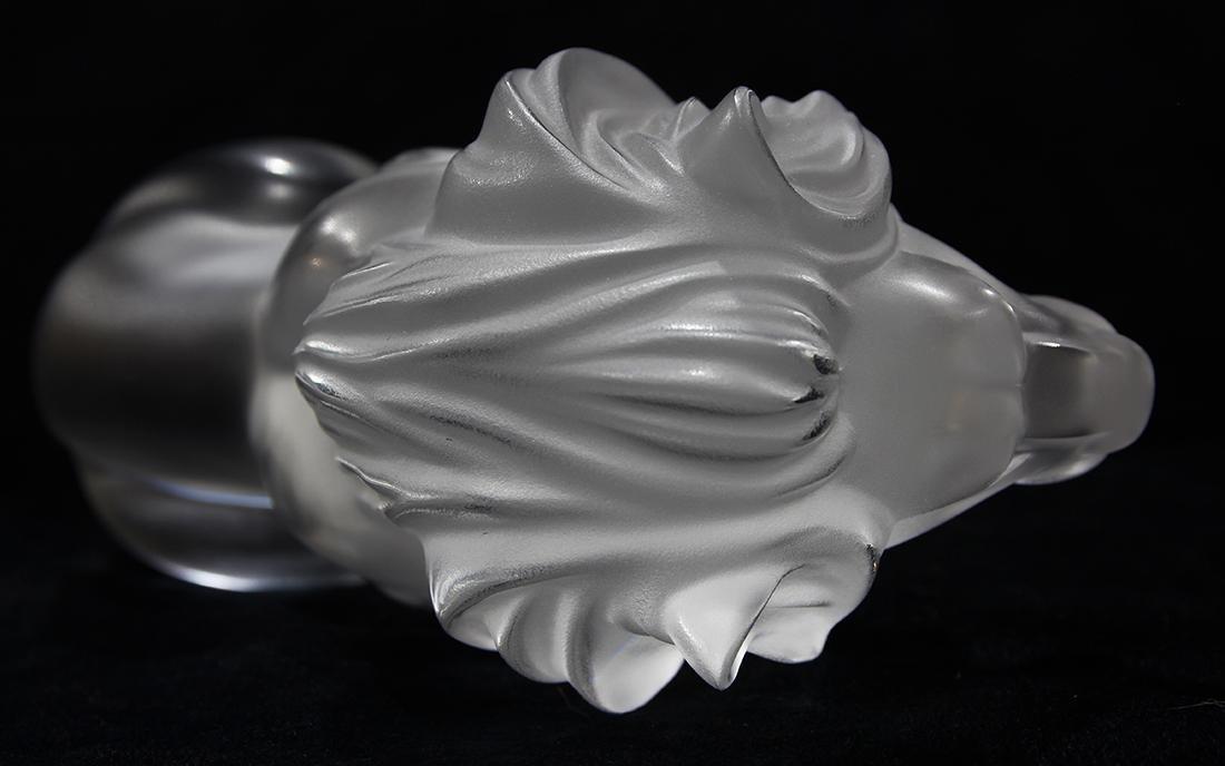 Lalique France ''Bamara'' frosted art glass lion, - 5