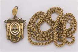 Victorian gold and goldfilled locketpendant necklace
