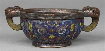 Chinese Cloisonne Enameled Cup with Zoomorphic Handles