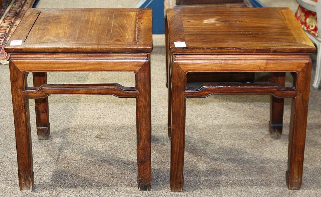 Chinese Huanghuali Square Wood Side Tables