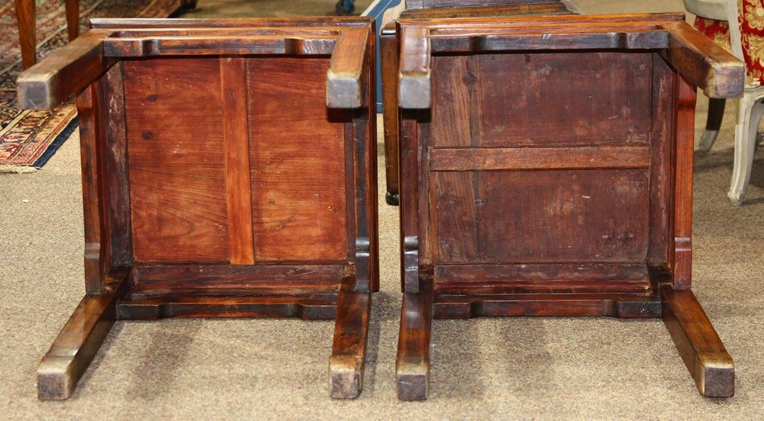 Chinese Huanghuali Square Wood Side Tables - 6