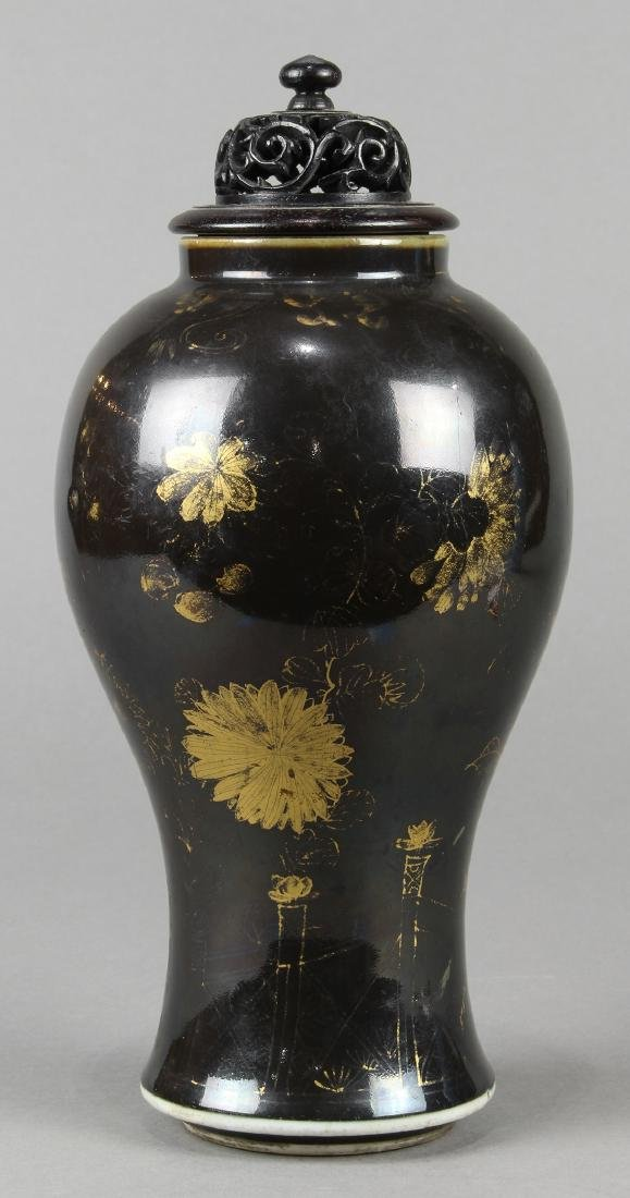 Chinese Gilt Black Porcelain Vase