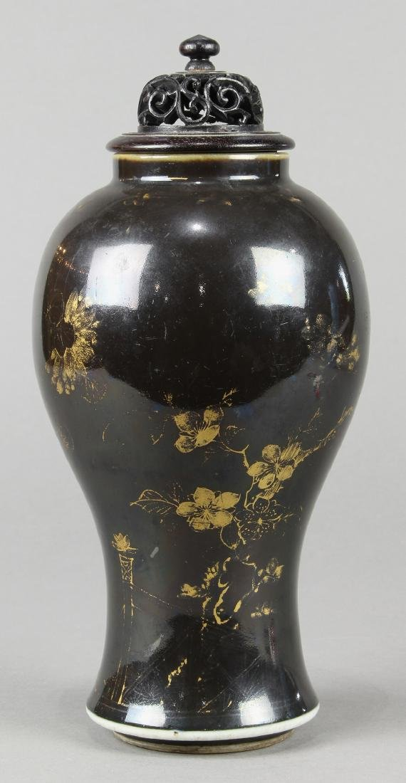 Chinese Gilt Black Porcelain Vase - 2