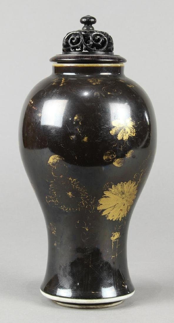 Chinese Gilt Black Porcelain Vase - 4