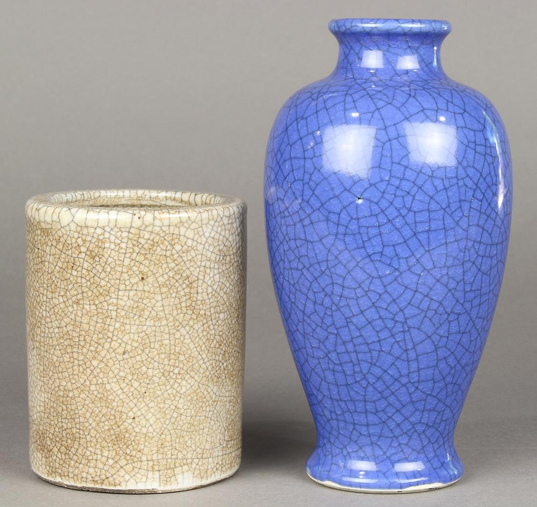 Two Chinese Crackle Glaze Vase and Brush Pot - 2