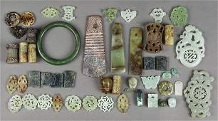 Chinese Hardstone Bangle Beads Plaques and Toggles