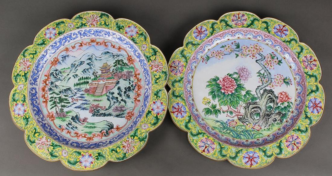 Two Chinese Painted Enamel Metal Chargers