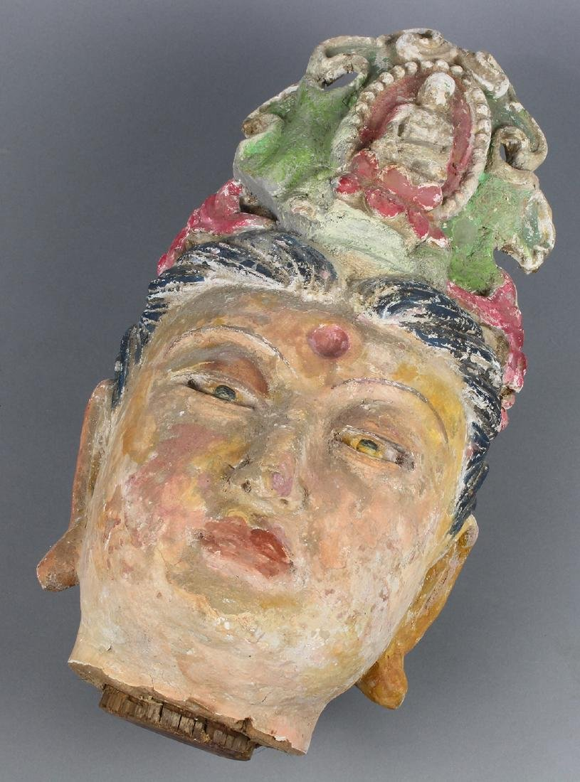 Chinese Polychrome Stucco Guanyin Head