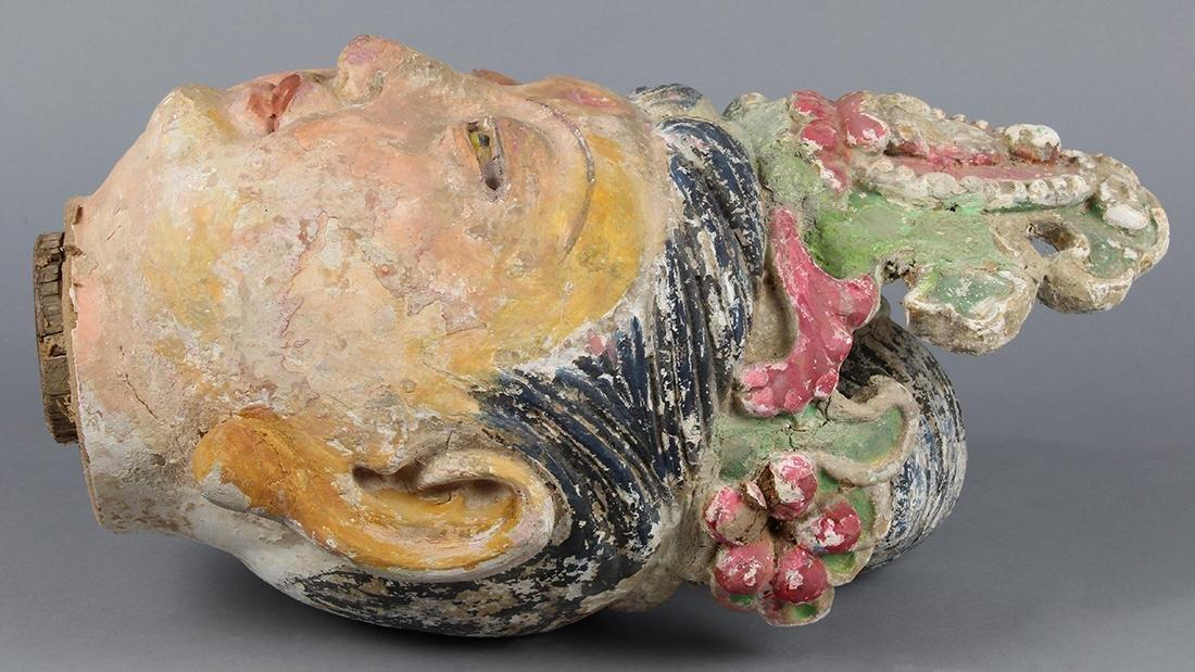 Chinese Polychrome Stucco Guanyin Head - 3