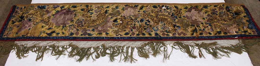 Chinese Embroidered Valence Cover, Lions/Peonies