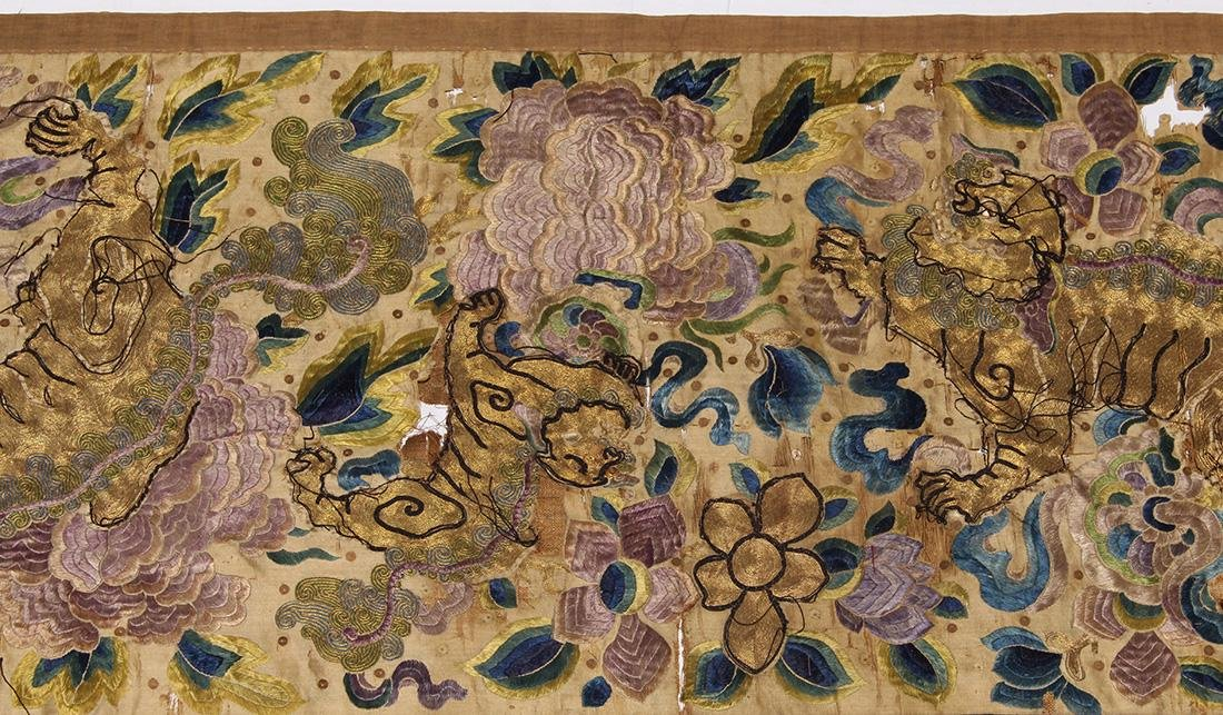 Chinese Embroidered Valence Cover, Lions/Peonies - 2