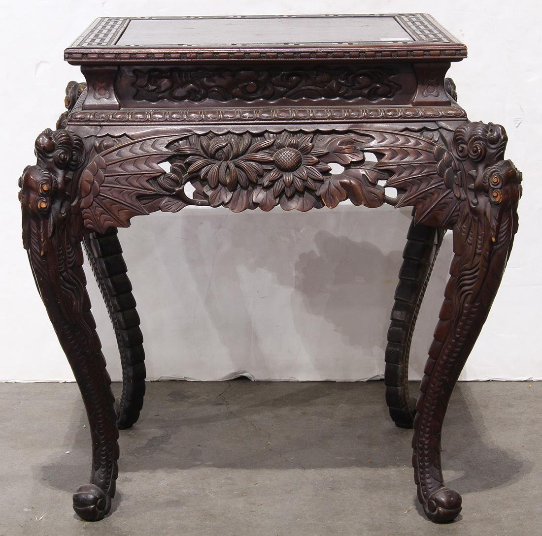 Japanese Wood Table, Dragon/Chrysanthemums