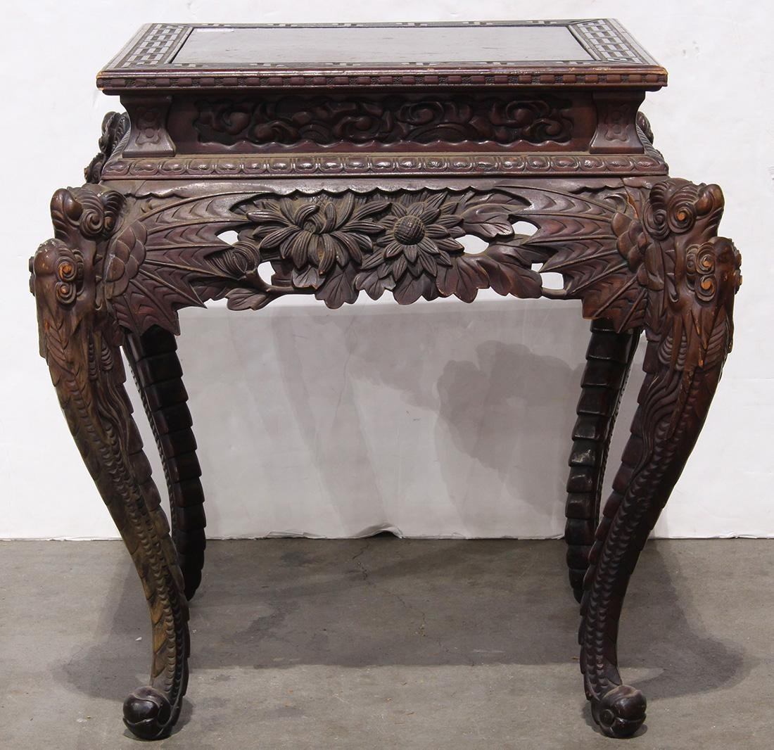 Japanese Wood Table, Dragon/Chrysanthemums - 2