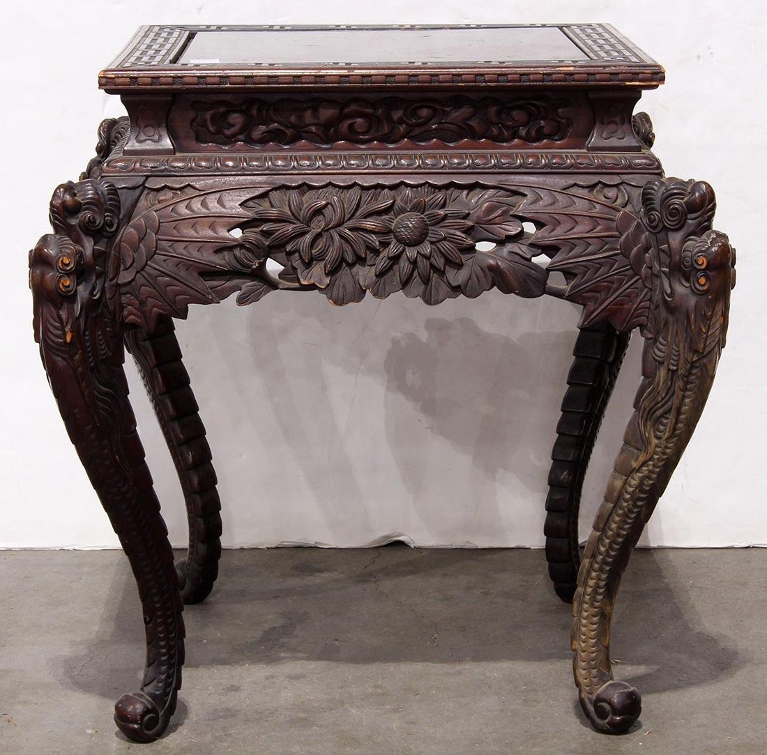 Japanese Wood Table, Dragon/Chrysanthemums - 3