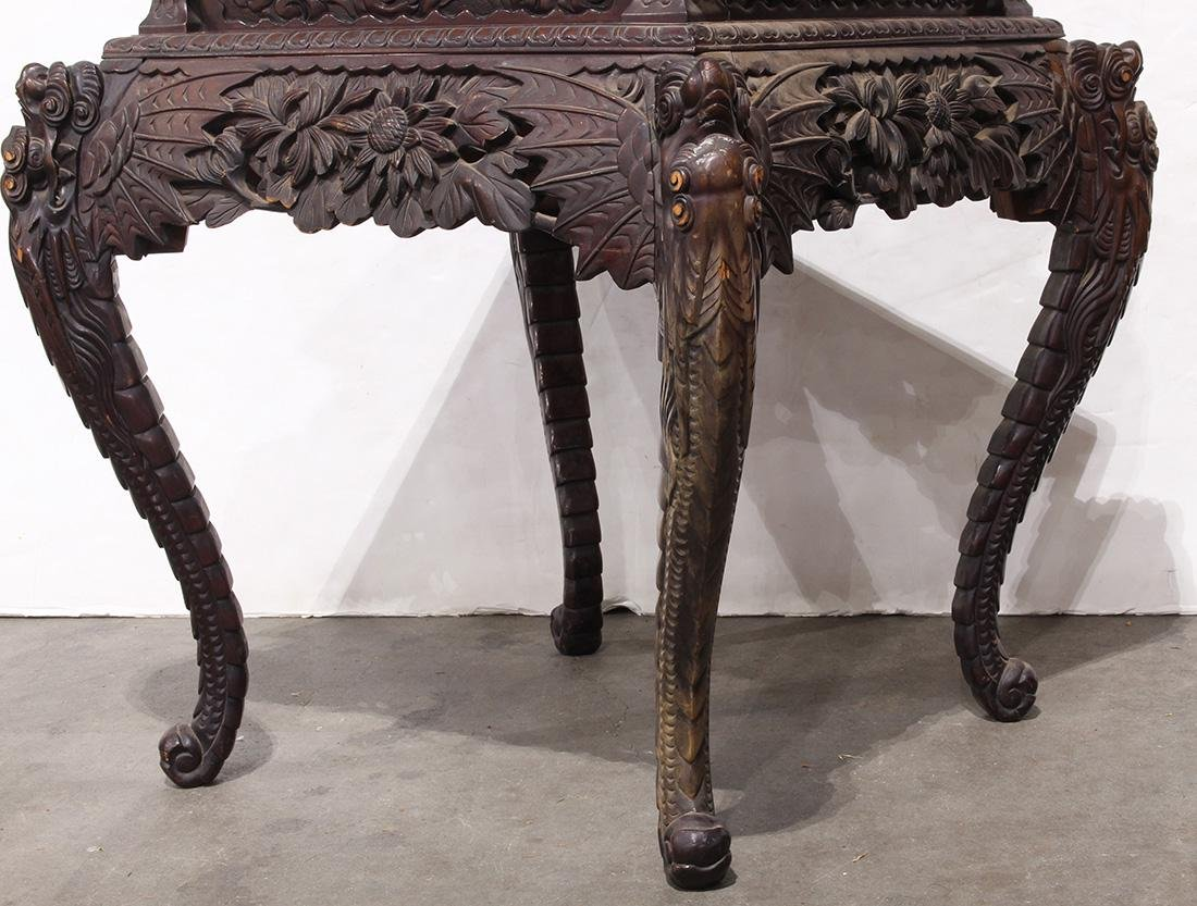 Japanese Wood Table, Dragon/Chrysanthemums - 5