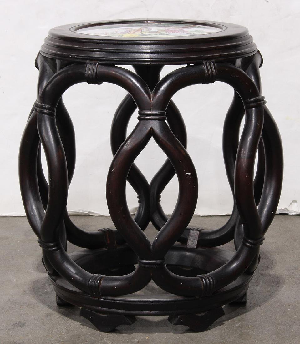 Chinese Porcelain Plaque Inset Wood Stool