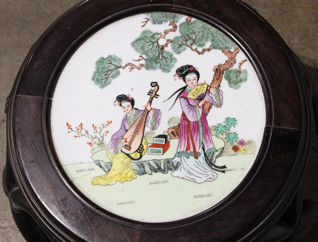Chinese Porcelain Plaque Inset Wood Stool - 2
