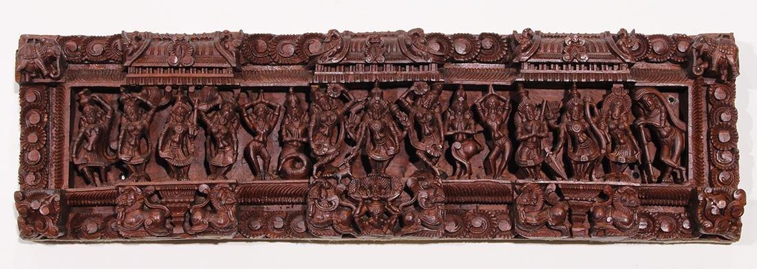 Indian Wooden Carved Panel, Dancers