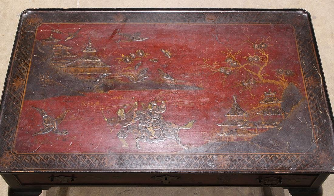 Chinoiserie Lacquered Table, Figures - 4