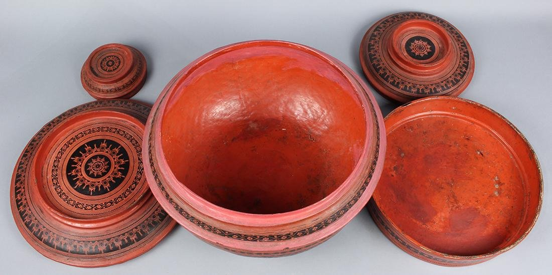 Southeast Asian Red Lacquered Box - 2