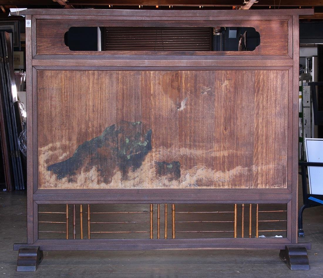 Japanese Tsuitate Zelkova Screen, Cranes/Plovers, 19c