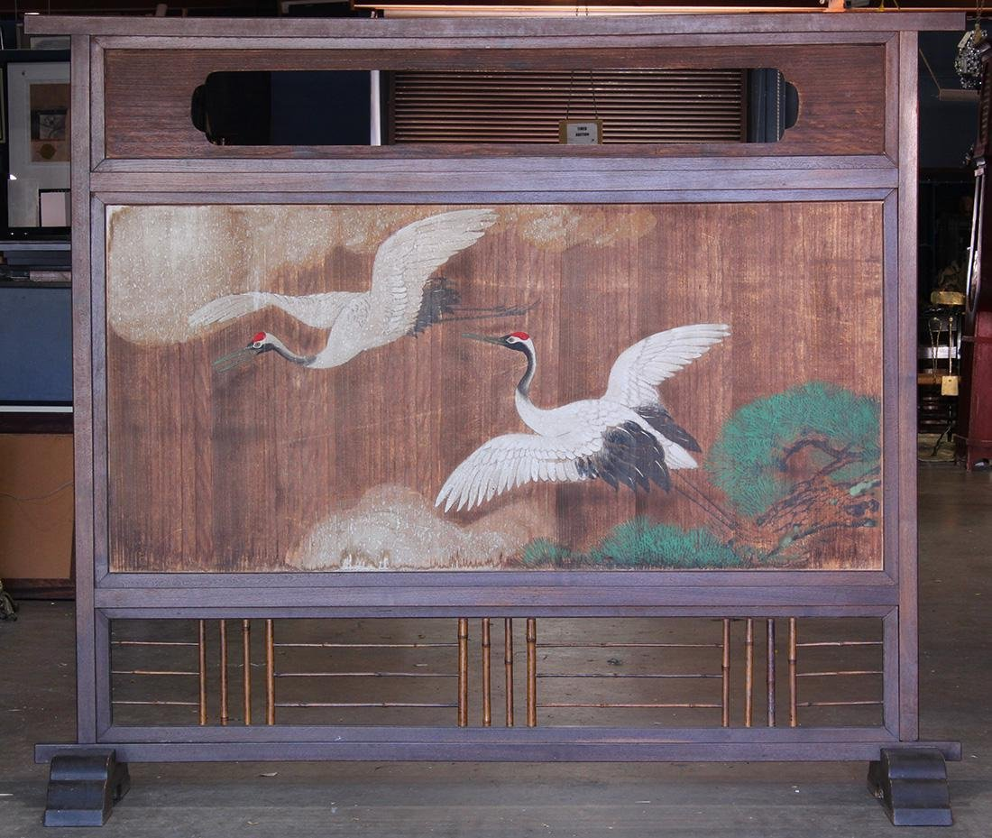 Japanese Tsuitate Zelkova Screen, Cranes/Plovers, 19c - 3