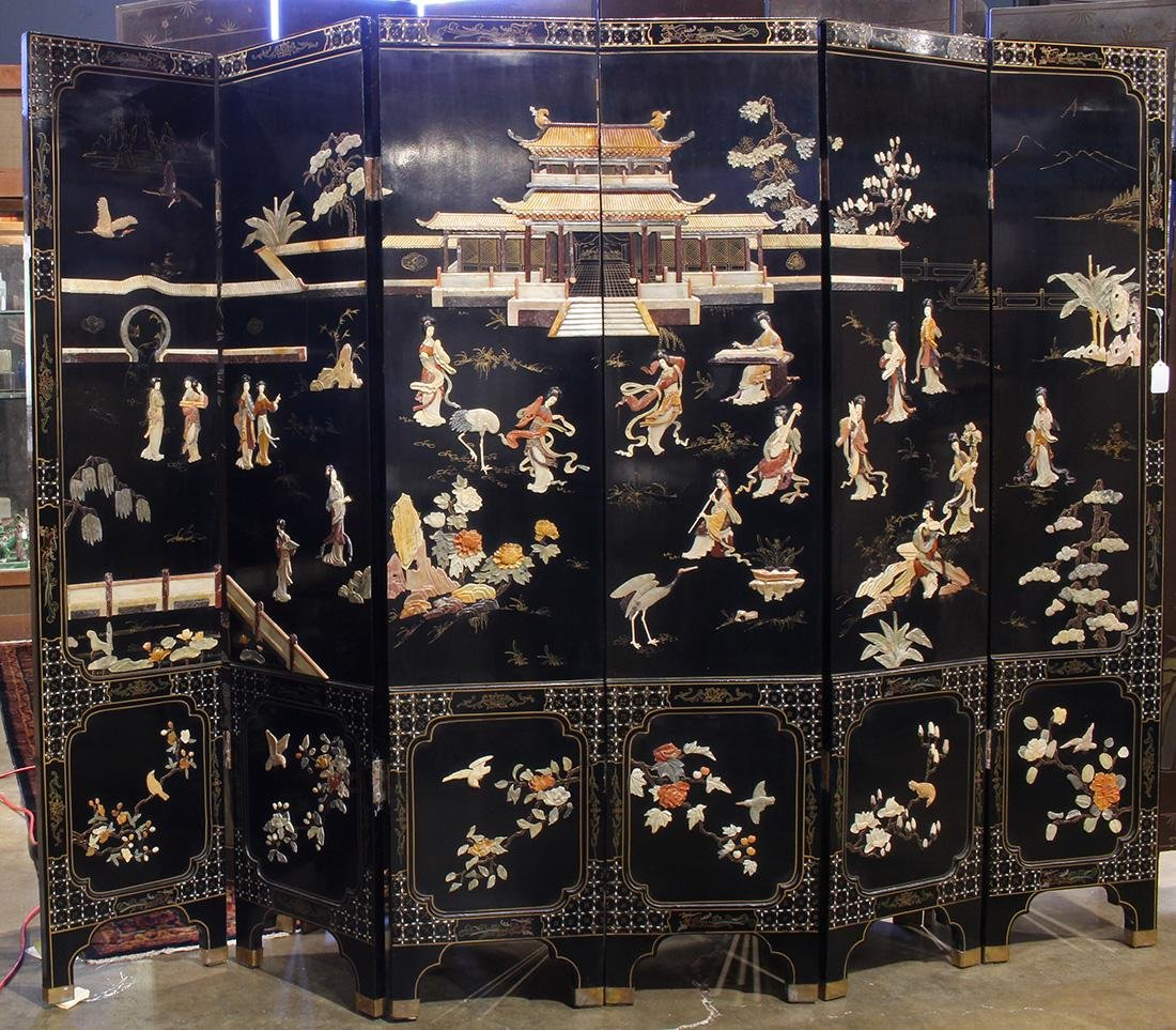 Chinese Overlay Lacquered Screen, Beauties