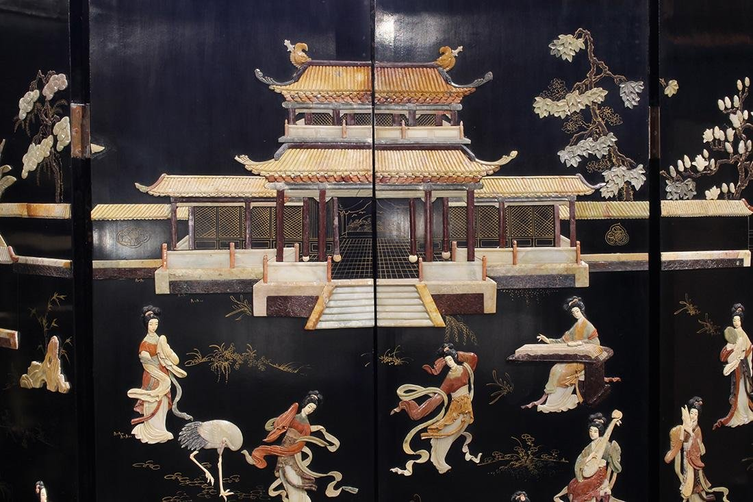 Chinese Overlay Lacquered Screen, Beauties - 2
