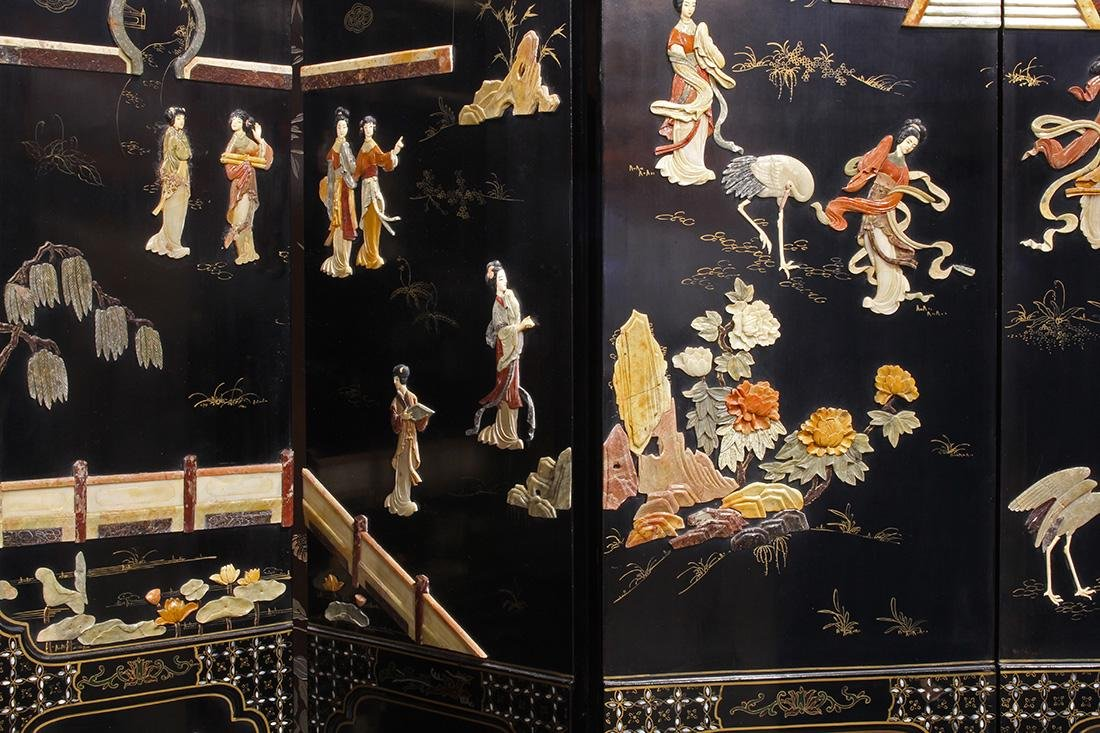 Chinese Overlay Lacquered Screen, Beauties - 3
