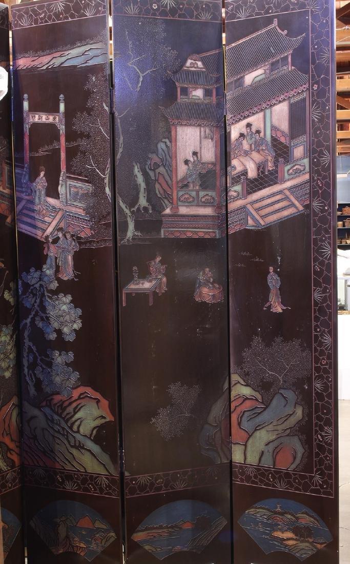 Chinese Coromandel Style Eight Panel Screen, Beauties - 2