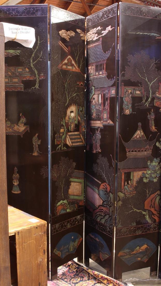 Chinese Coromandel Style Eight Panel Screen, Beauties - 3