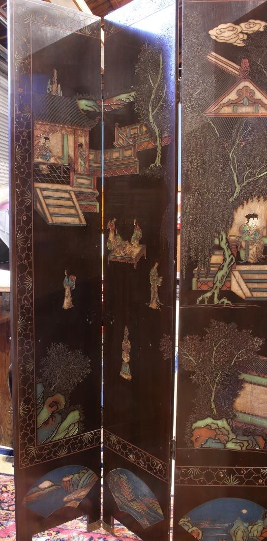 Chinese Coromandel Style Eight Panel Screen, Beauties - 4