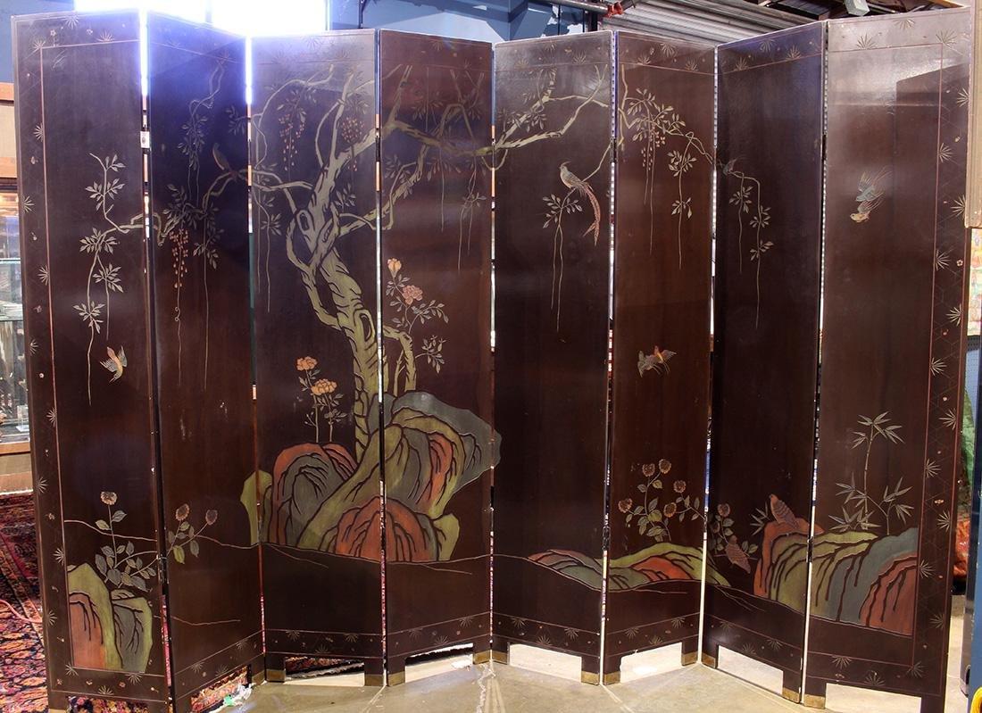 Chinese Coromandel Style Eight Panel Screen, Beauties - 5