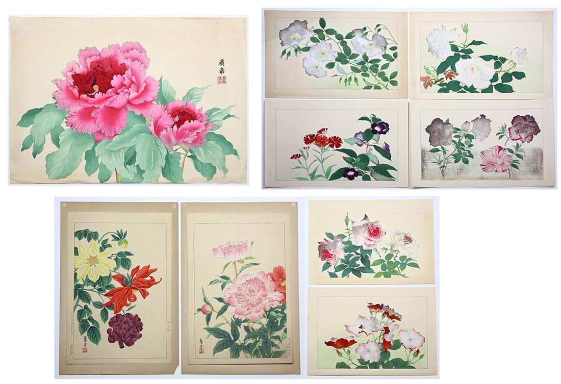 Japanese Woodblock Prints, Nishimura Shodo, Flowers