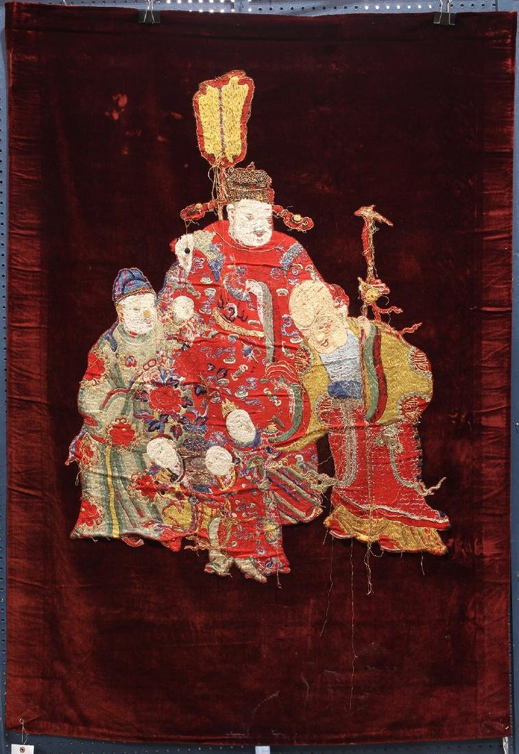 Chinese Embroidered Velvet Hanging, Three Star Gods