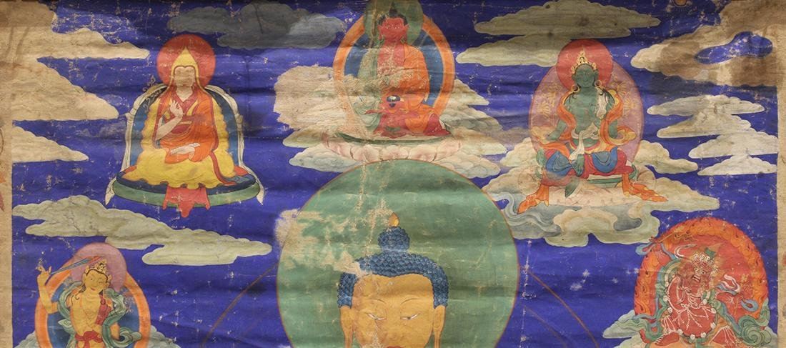 Himalayan Painted Thangka, Buddha - 3