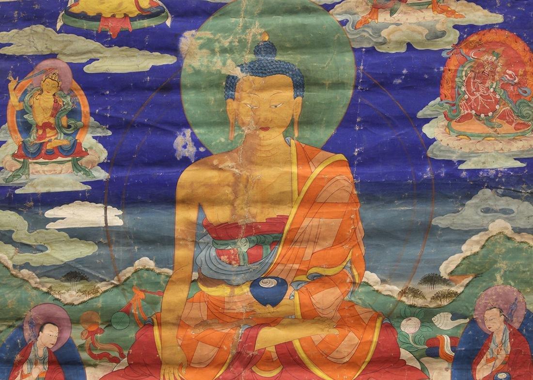Himalayan Painted Thangka, Buddha - 4