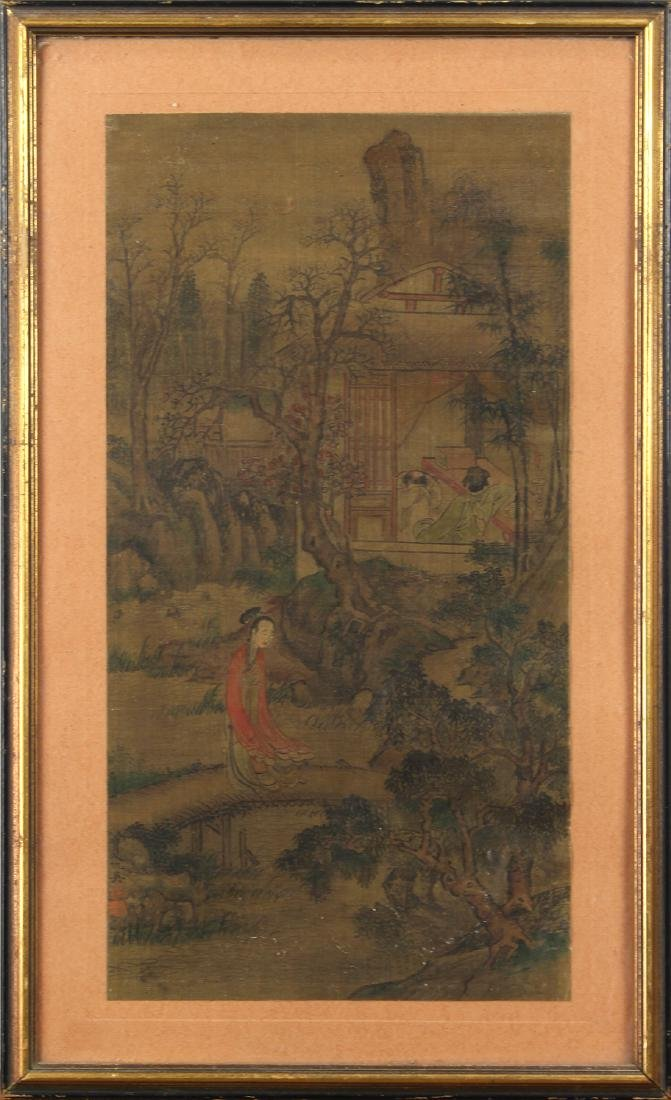 Framed Chinese Painting, Manner of Qiu Ying, Figures in
