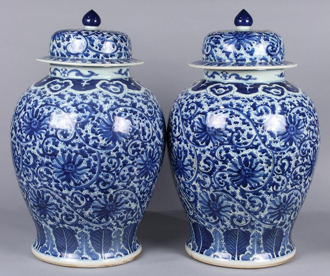 Chinese Blue-and-White Porcelain Urns
