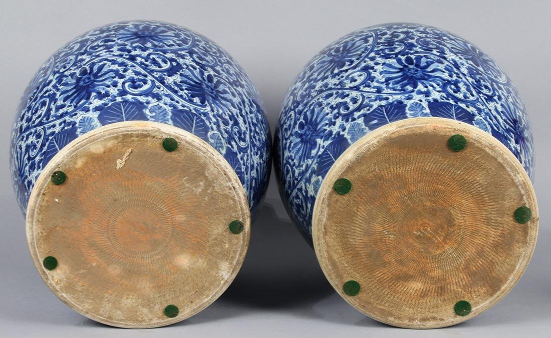 Chinese Blue-and-White Porcelain Urns - 4