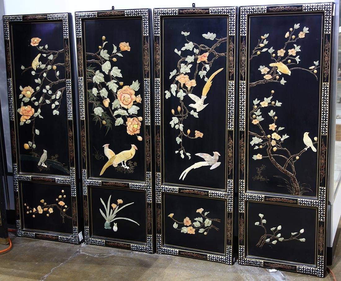 Set of Chinese Overlaid Hanging Panels, Birds and