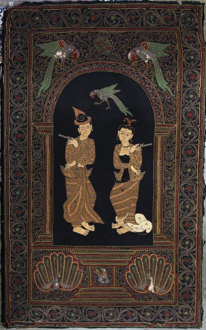 Burmese Textile, Kalaga, Figures