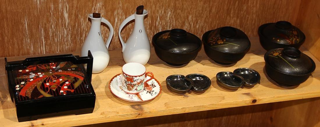 Japanese Lacquered Box, Bowls, Kutani Cup